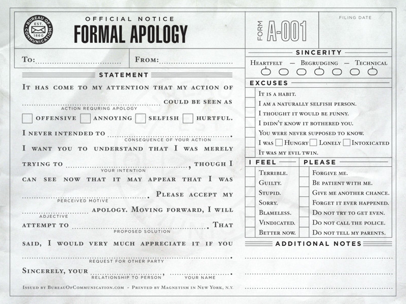 Official Notice: Formal Apology | GRcade